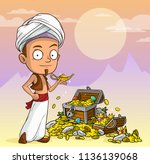 cartoon arabian boy character... | Shutterstock .eps vector #1136139068
