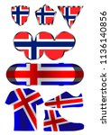 flag of norway  a set of icons... | Shutterstock .eps vector #1136140856