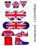 flag of great britain  a set of ... | Shutterstock .eps vector #1136140862