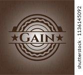 gain realistic wood emblem   Shutterstock .eps vector #1136145092