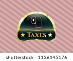 shiny emblem with toilet paper ... | Shutterstock .eps vector #1136145176