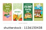 flat healthy eco food vertical... | Shutterstock .eps vector #1136150438