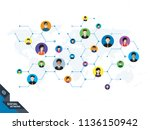 people connected by social... | Shutterstock .eps vector #1136150942
