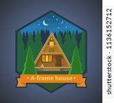 tiny cabin in the forest.... | Shutterstock .eps vector #1136152712