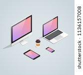 isometric gadget device set.... | Shutterstock . vector #1136157008