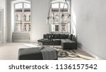 large white living room with... | Shutterstock . vector #1136157542