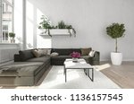 living room with black sofa... | Shutterstock . vector #1136157545