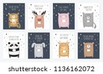 vector set of postcards with... | Shutterstock .eps vector #1136162072