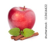 Red apple, cinnamon sticks and mint leaves still life isolated on white cutout. - stock photo