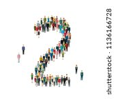 numbers made of people. large... | Shutterstock . vector #1136166728