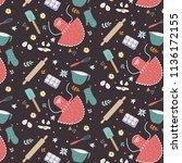 kitchen baking utensils... | Shutterstock .eps vector #1136172155