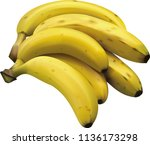 realistic bunch of bananas | Shutterstock .eps vector #1136173298