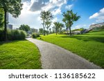green lawn in the park | Shutterstock . vector #1136185622