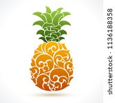 vector illustration pineapple   ... | Shutterstock .eps vector #1136188358