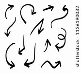 vector rough hand drawn arrows...   Shutterstock .eps vector #1136190032