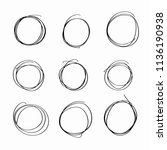 set of hand drawn doodle circle ... | Shutterstock .eps vector #1136190938