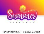 summer giveaway contest banner. ... | Shutterstock .eps vector #1136196485