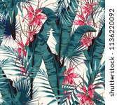 tropic summer painting seamless ... | Shutterstock .eps vector #1136220092
