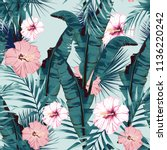 tropic summer painting seamless ... | Shutterstock .eps vector #1136220242