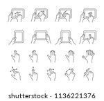 touch gestures icon set for a... | Shutterstock .eps vector #1136221376