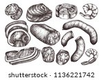 vector collection of meat ... | Shutterstock .eps vector #1136221742