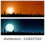 silhouette of a big city. two... | Shutterstock .eps vector #1136227262