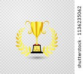 gold trophies isolated from... | Shutterstock .eps vector #1136235062