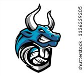 volleyball bull team logo | Shutterstock .eps vector #1136239205
