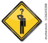 sign man with a question and... | Shutterstock . vector #1136243288