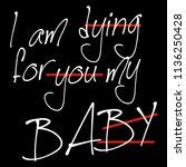 stylish trendy slogan tee t... | Shutterstock .eps vector #1136250428