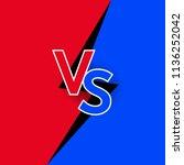 versus logo red vs blue letters ...   Shutterstock .eps vector #1136252042