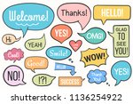hand drawn speech bubbles with... | Shutterstock .eps vector #1136254922