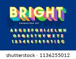 extra bright 3d display font... | Shutterstock .eps vector #1136255012