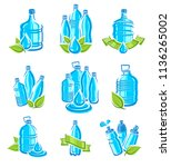 bottles water labels and... | Shutterstock .eps vector #1136265002
