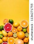 citrus fuits  grapefruit  lemon ... | Shutterstock . vector #1136271755