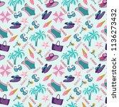 summer vacation pattern in... | Shutterstock .eps vector #1136273432