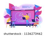 students with laptops sitting... | Shutterstock .eps vector #1136273462