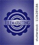 telemarketing emblem with denim ... | Shutterstock .eps vector #1136285186