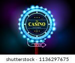 casino sign neon light outdoor... | Shutterstock .eps vector #1136297675
