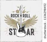 """rock n roll""  guitar...   Shutterstock .eps vector #1136298452"