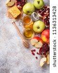 honey  apple and pomegranate... | Shutterstock . vector #1136313428