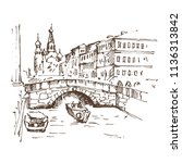 hand drawn griboyedov canal and ... | Shutterstock .eps vector #1136313842