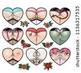 vector set of girl's heart... | Shutterstock .eps vector #1136317535