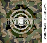 bye bye on camouflaged texture | Shutterstock .eps vector #1136319398