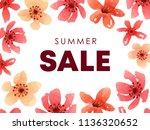 floral sale advertising... | Shutterstock .eps vector #1136320652