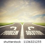 crossroads with problem and... | Shutterstock . vector #1136321255