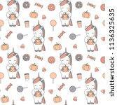 cute cartoon halloween seamless ... | Shutterstock .eps vector #1136325635