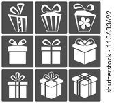 gift box icon set different... | Shutterstock .eps vector #113633692