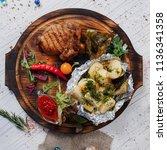 steak beef roasted with...   Shutterstock . vector #1136341358