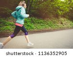 young fitness blonde woman in... | Shutterstock . vector #1136352905